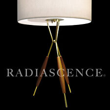 GERALD THURSTON LIGHTOLIER ATOMIC MODERN PROFILE TRIPOD BRASS WALNUT TABLE LAMP