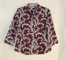 Foxcroft -Sz 8 Unusual Brown White Wrinkle-Free Trellis Art-to-Wear Shirt Top