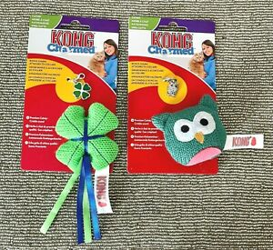 2 x KONG Charmed Catnip Cat Toys With Collar Pendant Charm - OWL And CLOVER