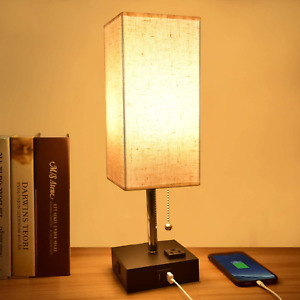 Bedside Table Lamp Modern Nightstand USB Charging Ports AC Outlet Fabric Shade