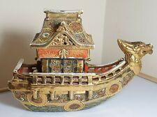 A Fine Meiji Period Satsuma Moriage & Gilt Koro In The Form Of A Dragon Boat.