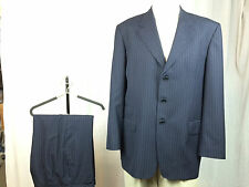 * PAUL SMITH LONDON * Navy Blue w/ Blue Pinstripes Wool Suit 46L 9/10!
