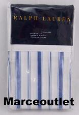 Ralph Lauren Dorsey Jobs Lane Stripe Percale KING Pillowcases Set Blue / White
