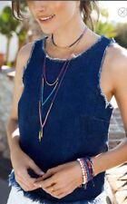 gorjana Power Stone Adjustable Y-Necklace Blue Lapis/  Gold Tone / Blue Thread