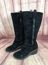 n56 UGG Australia Hartley Womens 8 / 39 Black Leather Wedge Heel Tall Boots