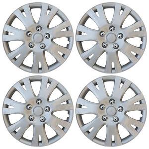 "Hub Cap ABS Silver 16"" Inch Rim Wheel Skin Cover Center 4 pc Set Caps Covers"