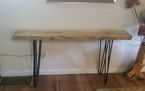 Maple Console Table with Steel Hairpin Legs. Sofa Table, Entry Table