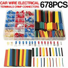 678 Pcs Terminals Insulated Crimp Car Electrical Wire Connectors Spade Set Kit