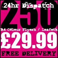 250 A4 Full Colour Digital Printed Flyers / Leaflets High Quality 24hr Dispatch