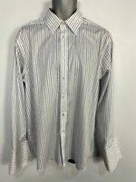 "MENS MARKS&SPENCER 16"" WHITE/BLUE STRIPED LONG SLEEVE DOUBLE CUFF TAILORED SHIRT"
