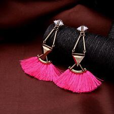 orecchini A perno Dorato Art Deco Triangolo Pompon Stoffa Rosa XX 15