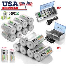 EBL C D Size Cell Rechargeable Batteries / C D Size Charger Lot + Case USA