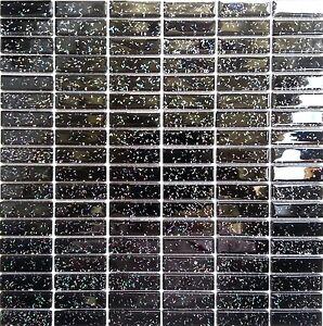 Black Glitter Glass Mosaic Tile Sheet 300x300x4mm (MT0010)