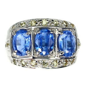 Unheated Oval Kyanite 7x5mm Sapphire Diamond Cut 925 Sterling Silver Ring Sz 6.5
