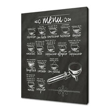 COFFEE MENU ON CHALKBOARD CANVAS PRINT PICTURE WALL ART FREE FAST DELIVERY
