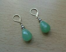 AVENTURINE 'A' cut face pendant drop  EAR RINGS St Silver Gift wrapped