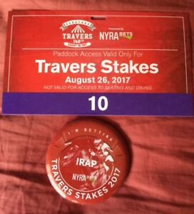 2017 Saratoga Travers Paddock Pass and Button For Irap