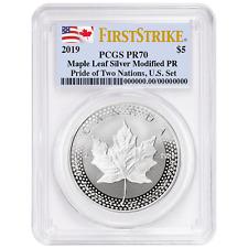 2019 Modified Proof $5 Silver Canadian Maple Leaf PCGS PR70 FS Dual Flag Label P