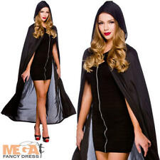 Long Black Hooded Cape Adults Fancy Dress Halloween Vampire Witch Costume Cloak