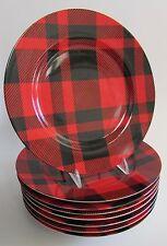 "Rare Fitz & Floyd ""Black & Red Plaid"" 7.5"" Salad/Dessert Plates Set of 8 MINT"