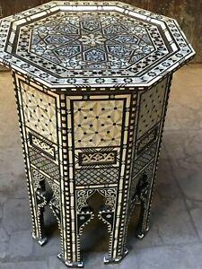 Vintage Handmade End Table Inlaid Mother of Pearl, Camel Bone, Tortoise Back