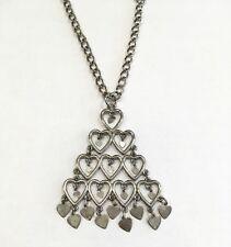 Designer LISNER Open & Dangling Hearts Pendant Necklace Silver Tone Vintage Vtg