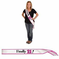 "21st (Age 21) Birthday Party ""FINALLY 21!"" HOT PINK & BLACK SATIN SASH"