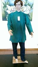 "40"" M Sherwani Top Only Indian Green Silk Blend Men Bollywood Kurta Shirt Kurtha"