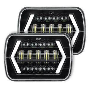 "2x 7x6"" 5x7"" LED Headlights DRL Turn Signal Projector Beams For Jeep Cherokee XJ"