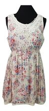 NEW LOOK Dress Size 12 Cream Floral L30in Wedding Party Holiday Casual Sundress
