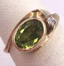 14k Yellow Gold 1.11TCW Peridot & Diamond Accent Band Ring Size 4.75 3.7gr