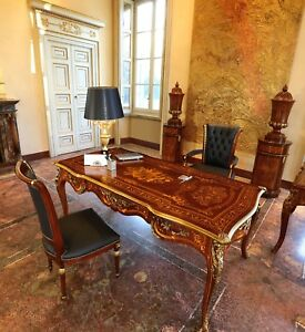 Brand NEW LUXURY Italian Made Mahogany Presidential Desk with Bronze, Inlaid Top