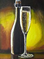 Watercolor Painting Champagne Wine Drink Glass Bottle Bar ACEO Art Auction