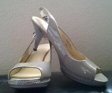 Nine West Sharina Leather Gray With Snake Print Heels Open Toe Slingback US 8.5M