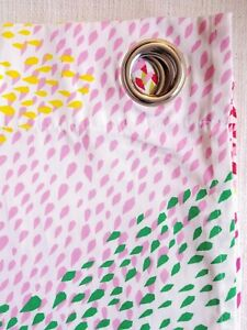 Ikea Curtain Panel Pair Murgrona Grommet Pink Yellow Green White Drops Preowned