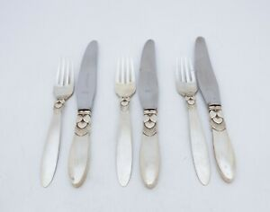 3 SETS OF FLATWARE KNIFES & FORKS STERLING SILVER GEORG JENSEN, DENMARK, CACTUS