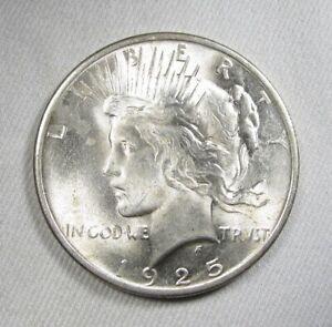 1925 Silver Peace Dollar VCH AU Coin AK904