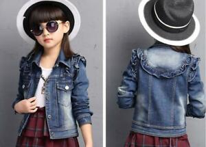 Toddler Girls Kids Ruffle Jean Jacket Denim Tops Cowboy Outfits Casual Coat