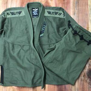Elite Sports BJJ GI Pants for Men Jiu Jitsu Brazilian Design Green A2H Jacket