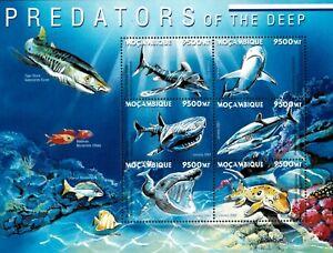 Mozambique 2001 - Predators of The Deep Sharks - Sheet of 6 - Scott 1409 - MNH