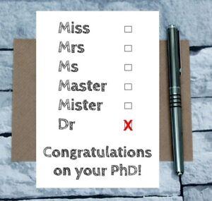 PhD card - new dr card - phd tickbox - new doctor card - graduation card - uni
