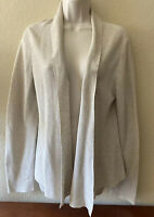 Eileen Fisher Women's Organic Cotton Open Front Cardigan Sweater Beige Size XS