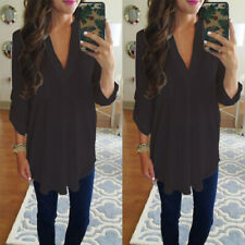 Women Short Sleeve Chiffon V Neck Solid Pocket Blouse Casual Loose Tunic T Shirt