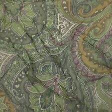 "Silk Chiffon Fabric Olive Green Paisley 10""x7"" remnant"