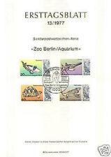 Berlin 1977:  Berliner Zoo und Aquarium! Ersttagsblatt der Nr. 552-555!