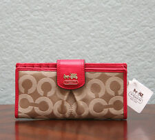 COACH Madison Op Art Sateen Skinny Organizer Wallet 46636 KHAKI/PUNCH - NWT