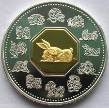 Canada 1999 Year of Rabbit 15 Dollars 1oz Gild Silver Coin,Proof