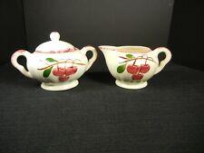 "Southern Potteries Blue Ridge: Cute ""Cherry Cobbler"" Cream & Sugar Set (13838)"