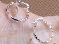 925 Sterling Silver Round Hoop Drop Dangle Earrings Women's Elegant Jewelry
