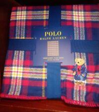 "NWT Polo Ralph Lauren Polo Polo Bear Plaid Throw Blanket 50"" x 70"""